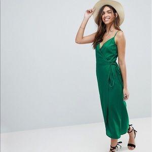 ASOS DESIGN Cami Wrap Linen Slip Dress - Size 4